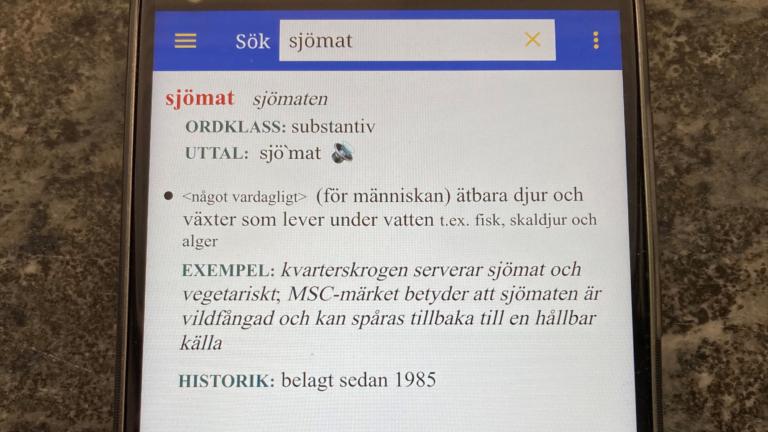 Bild på ordet sjömat i appen Svensk ordbok